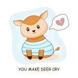 Corazón triste lindo de los ciervos que rompe el gráfico ilustración del vector