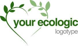 Corazón verde de la insignia ecológico Imágenes de archivo libres de regalías