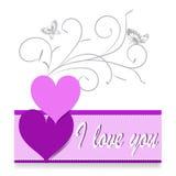 Corazón verde estilizado de la ilustración del vector Letras de día felices del ` s de la tarjeta del día de San Valentín Corazón Fotos de archivo