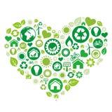 corazón verde, icono del ambiente stock de ilustración