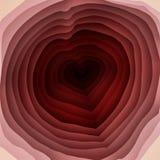 Corazón y agujero rojos en fondo de múltiples capas Fotografía de archivo
