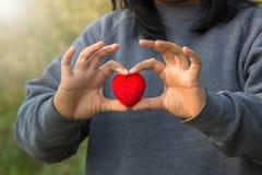 Corazón y amor rojos en concepto del día de tarjetas del día de San Valentín: El dar del ser humano grande Imagen de archivo libre de regalías
