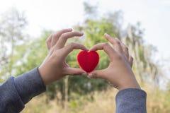Corazón y amor rojos en concepto del día de tarjetas del día de San Valentín: El dar del ser humano grande Imágenes de archivo libres de regalías