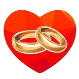 Corazón y anillo rojos stock de ilustración