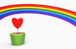 Corazón y arco iris de la flor Imagen de archivo