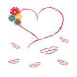 Corazón y beso Fotos de archivo libres de regalías