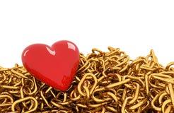 Corazón y cadena rojos Fotos de archivo libres de regalías