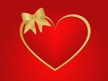 Corazón y cinta de las tarjetas del día de San Valentín Fotografía de archivo libre de regalías