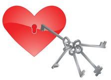 Corazón y claves. ilustración del vector