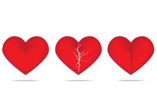 Corazón y corazón quebrado Imágenes de archivo libres de regalías