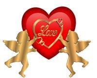 Corazón y Cupids de la tarjeta del día de San Valentín gráficos Imagenes de archivo