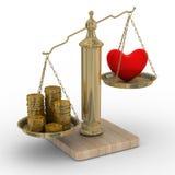 Corazón y dinero para las escalas Imagen de archivo