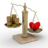 Corazón y dinero para las escalas Imágenes de archivo libres de regalías