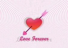 Corazón y flecha, el día de tarjeta del día de San Valentín Fotos de archivo