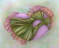Corazón y flor Fotografía de archivo