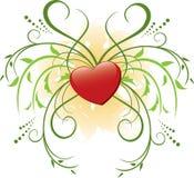 Corazón y flora rojos Imágenes de archivo libres de regalías