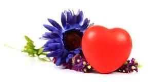 Corazón y flores Foto de archivo libre de regalías