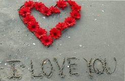 Corazón y flores Foto de archivo
