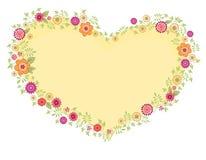 Corazón y flores 2 de la tarjeta de felicitación del vector Fotos de archivo libres de regalías
