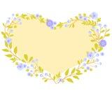 Corazón y flores de la tarjeta de felicitación del vector Foto de archivo libre de regalías
