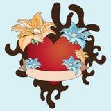 Corazón y flores del tatuaje de la impresión Imagen de archivo