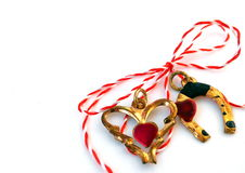 Corazón y herradura con la secuencia roja y blanca Imagen de archivo libre de regalías