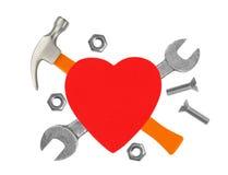 Corazón y herramientas Concepto: Renovación del corazón Aislado en blanco Imágenes de archivo libres de regalías