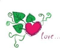 Corazón y hojas con los krausens Fotografía de archivo libre de regalías