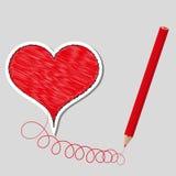 Corazón y lápiz preparados ejemplo del vector ilustración del vector