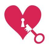 Corazón y llave Foto de archivo