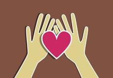 Corazón y manos ilustración del vector