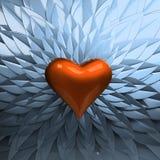 Corazón y pétalos rojos Foto de archivo