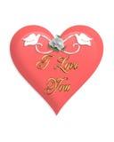 Corazón y palomas del color de rosa del día de tarjetas del día de San Valentín Foto de archivo libre de regalías