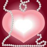 Corazón y perlas. Imágenes de archivo libres de regalías