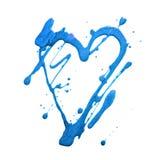 Corazón y puntos del brillo del brillo Manchas blancas /negras azules del drenaje Hecho a mano Aislado en el fondo blanco Impresi Imagen de archivo libre de regalías
