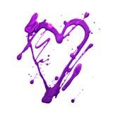 Corazón y puntos del brillo del brillo Manchas blancas /negras violetas del drenaje del oro Hecho a mano Aislado en el fondo blan Imagen de archivo