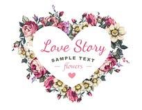 Corazón y regalo de las flores para su amado stock de ilustración