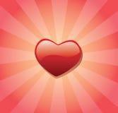 Corazón y resplandor solar rojos del amor Stock de ilustración