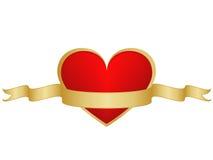 Corazón y ribbong de las tarjetas del día de San Valentín Foto de archivo libre de regalías