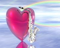 Corazón y saxofón stock de ilustración
