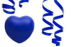 Corazón y sreamer azules Foto de archivo