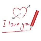 Corazón y te amo dibujado por el lápiz rojo Imagen de archivo