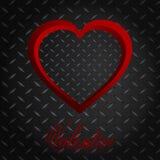 Corazón y texto meatllic del diamante de la tarjeta del día de San Valentín Fotografía de archivo libre de regalías