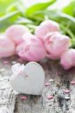 Corazón y tulipanes Imagen de archivo libre de regalías