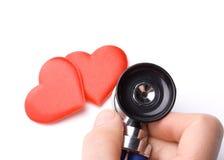 Corazón y un estetoscopio Fotos de archivo