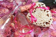 Corazón y vidrios Imagen de archivo libre de regalías