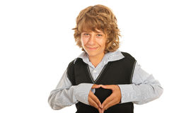 Corazón adolescente feliz de la forma Foto de archivo libre de regalías