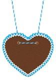 Corazón blanco azul vacío del pan de jengibre Imágenes de archivo libres de regalías