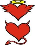 Corazón como ángel y diablo Fotografía de archivo