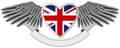 Corazón con alas con el indicador BRITÁNICO Foto de archivo